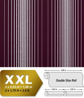 EDEM 973-35 XXL non-woven wallpaper luxury textured stripes embossed pattern violet silver grey | 10,65 sqm (114 sq ft)