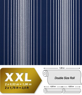EDEM 973-37 XXL non-woven wallpaper luxury textured stripes embossed pattern blue silver-grey | 10,65 sqm (114 sq ft)