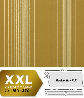 EDEM 973-38 XXL non-woven wallpaper luxury textured stripes embossed pattern olive-green gold | 10,65 sqm (114 sq ft)