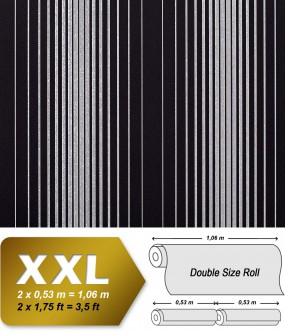 EDEM 973-39 XXL non-woven wallpaper luxury textured stripes embossed pattern black silver-grey | 10,65 sqm (114 sq ft)