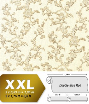 EDEM 919-31 XXL non-woven wallpaper luxury textured 3D flower floral wallcovering cream beige | 10,65 sqm (114 sq ft)
