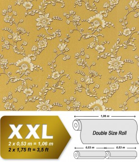EDEM 919-32 XXL non-woven wallpaper luxury textured 3D flower floral wallcovering olive gold cream 10,65 sqm (114 sq ft)