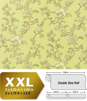 EDEM 919-38 XXL non-woven wallpaper luxury textured 3D flower floral wallcovering light green gold 10,65 sqm (114 sq ft)