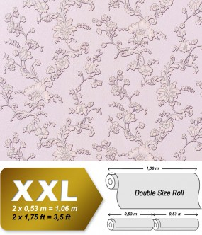 EDEM 919-39 XXL non-woven wallpaper luxury textured 3D flower floral wallcovering syringa rose violet grey | 10,65 sqm