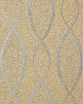 EDEM 1018-13 wallpaper design fashion stripes cuved lines retro 70s style textured vinyl wallcovering brown beige silver