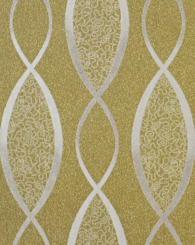 EDEM 1018-15 wallpaper design fashion stripes cuved lines 70s retro style textured vinyl wallcovering olive green silver