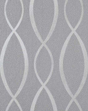 EDEM 1018-16 wallpaper design fashion stripes cuved lines 70s retro style textured vinyl wallcovering grey silver