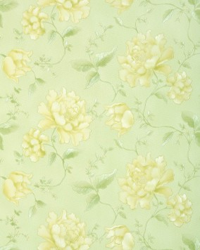 Floral wallpaper EDEM 748-38 embossed heavy-weight vinyl wallpaper luxury flowers yellow green 5.33 sqm (57 sq ft)
